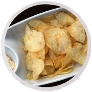 Satisfy The Craving With Chips And Dip Round Beach Towel