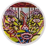 Saturday Afternoon Delight  Round Beach Towel