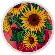 Saturday Morning Sunflowers Round Beach Towel