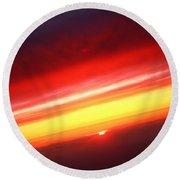 Saturn On Earth Sunset Round Beach Towel
