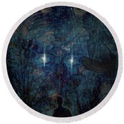 Saturnine Night Round Beach Towel