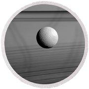 Saturns Moon, Tethys Round Beach Towel