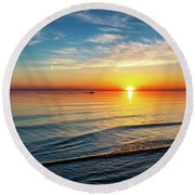 Sauble Beach Sunset 4 Round Beach Towel