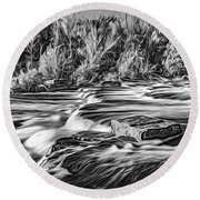 Sauble Falls Autumn Evening 3 - Paint Bw Round Beach Towel