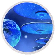 Saucers Round Beach Towel by Corey Ford