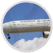 Saudi Arabian Airlines Boeing 777 Round Beach Towel