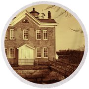 Saugerties Lighthouse Sepia Round Beach Towel by Nancy De Flon