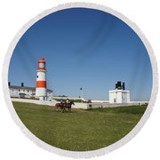 Souter Lighthouse And Foghorn. Round Beach Towel