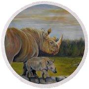 Savanna Overlook, Rhinoceros  Round Beach Towel