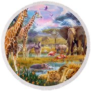Savannah Animals Round Beach Towel