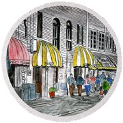 Savannah Georgia River Street 2 Painting Art Round Beach Towel