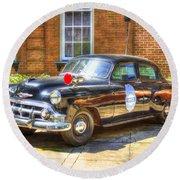 Savannah Police Car 1953 Chevrolet  Round Beach Towel