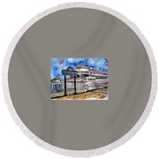 Savannah River Queen Boat Georgia Round Beach Towel