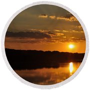 Savannah River Sunset Round Beach Towel
