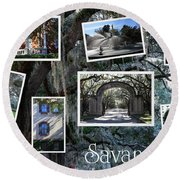 Savannah Scenes Collage Round Beach Towel