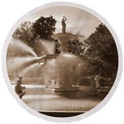 Savannah Sepia - Forsyth Fountain Round Beach Towel