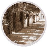 Savannah Sepia - Sunny Sidewalk Round Beach Towel