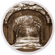 Savannaha Sepia - Wormsloe Plantation Gate Round Beach Towel