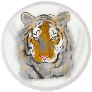 Save The Tiger Round Beach Towel