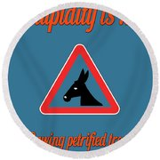 Sawing Bigstock Donkey 171252860 Round Beach Towel