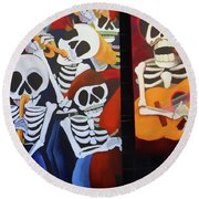 Sax Guitar Music Day Of The Dead  Round Beach Towel