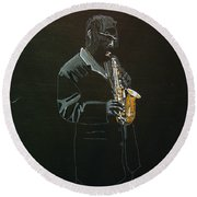 Sax Player Round Beach Towel