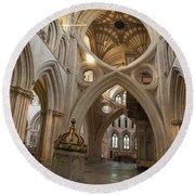 Saxon Baptismal Font Wells Cathedral, Somerset Uk Round Beach Towel