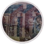 Saxon Medieval Frescoes, Transylvania Round Beach Towel