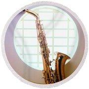 Saxophone In Round Window Round Beach Towel