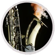Saxophone With Smoke Round Beach Towel by Garry Gay