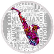 Saxophone With Word Background Round Beach Towel