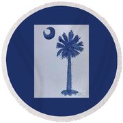 Sc Palmetto And Crescent Round Beach Towel
