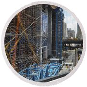 Scaffolding In The City Round Beach Towel