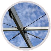 Scaffolding Sky View Round Beach Towel