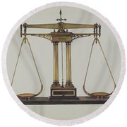 Scales For Weighing Gold Round Beach Towel