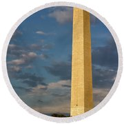 Scaling The Washington Monument Round Beach Towel