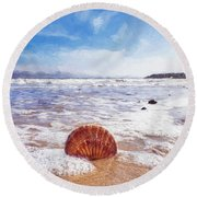 Scallop Shell On The Beach - Impressions Round Beach Towel