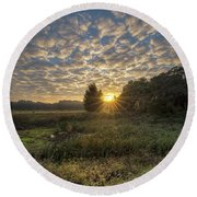 Scalloped Morning Skies Round Beach Towel