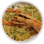 Scampi Risotto Round Beach Towel
