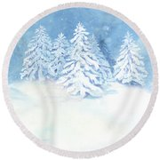 Scandinavian Winter Snowy Trees Hygge Round Beach Towel