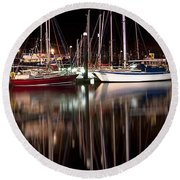 Scarborough Boats Round Beach Towel
