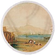 Scarborough Town And Castle Round Beach Towel