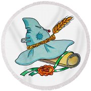 Scarecrow Hat From Wizard Of Oz Round Beach Towel