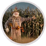 Scarecrow In A Corn Field Round Beach Towel