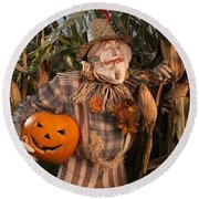 Scarecrow With A Carved Pumpkin  In A Corn Field Round Beach Towel