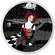 Scarlet Checkers Round Beach Towel
