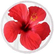 Scarlet Hibiscus Tropical Flower  Round Beach Towel