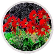 Scarlet Night Round Beach Towel