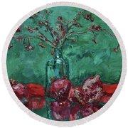 Scarlet Pomegranates Round Beach Towel