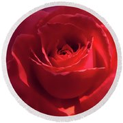 Scarlet Rose Flower Round Beach Towel